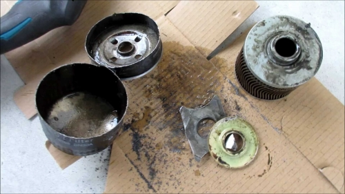 Inside the oil filter (9)